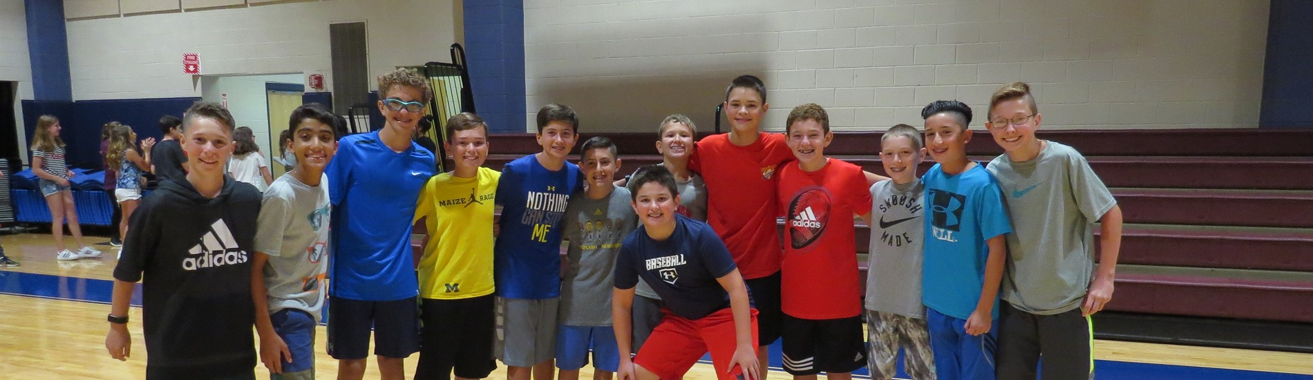 WCMS boys in gymnasium during lunch recess