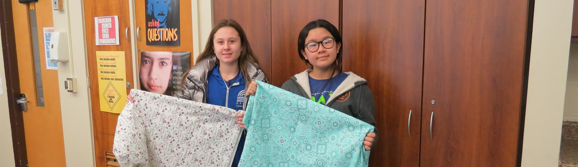 "MLK Service Activity - students sew pillowcases for the organization ""Ryan's Case for Smiles"""