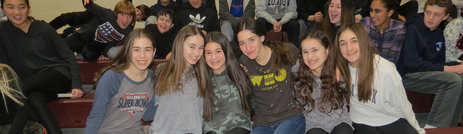 Some of our 7th grade girls at our student faculty basketball game