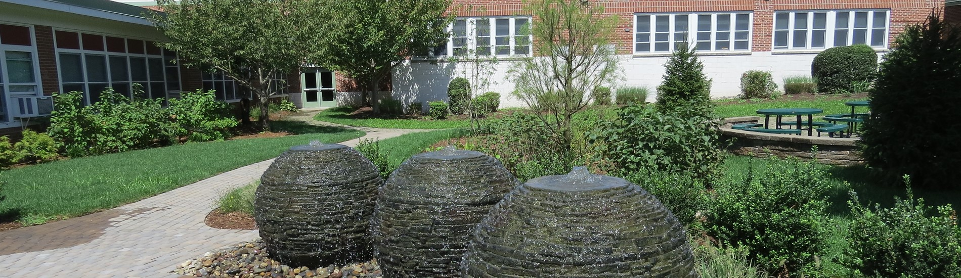 water feature in WCMS courtyard